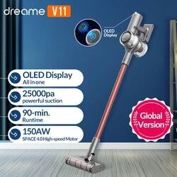 Dreame v11 handheld sem fio aspirador oled display portátil sem fio 25kpa tudo em um coletor de pó piso tapete mais limpo