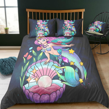 Cartoon Mermaid Bedding Set 3D Printed Three-piece With Pillowcase Queen King 4 Sizes Bedclothes Home Textile