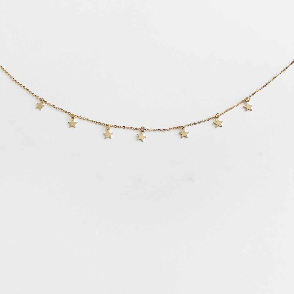 פשוט כוכב שרשרת זהב כסף שרשרת שרשרת קולר נשים תכשיטי מסיבת כוכב תליון צווארון בנות תכשיטים מתנה