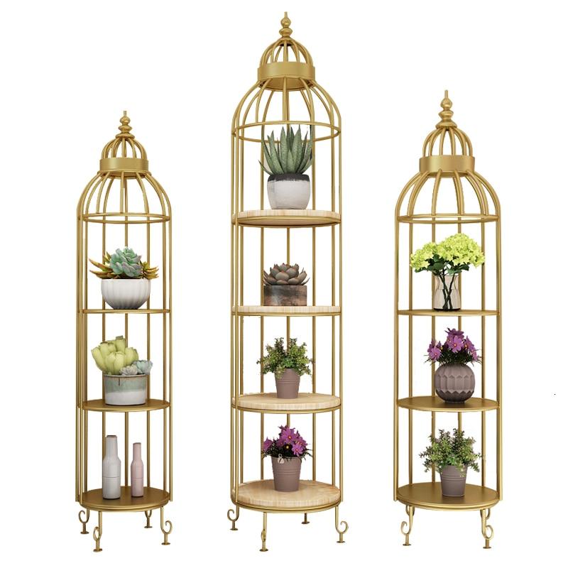 Living Room Shelf Landing Type Originality Cage Modelling Layer Frame Flower Multi-storey Wood Flower Rack