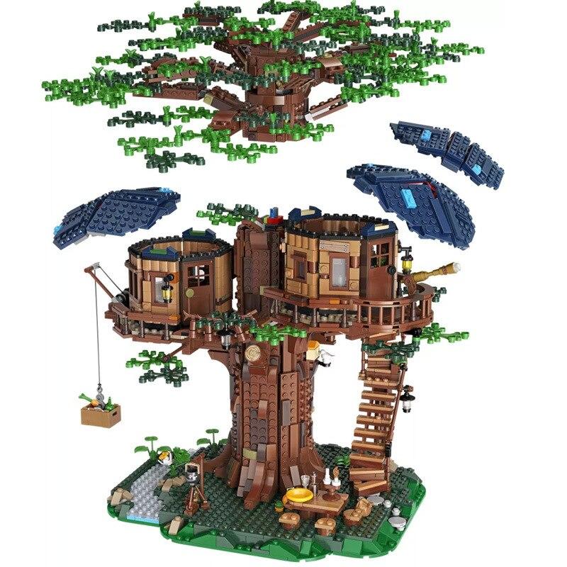 Ideas árbol casa modelo deja dos colores de bloques de construcción ladrillos de Navidad regalos para chico Compatible Legoinglys amigos 21318 - 2