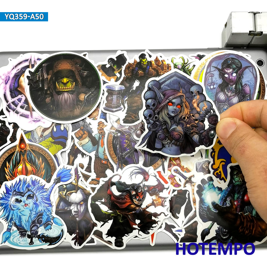 50pcs Anime Style Azeroth World Classic Game Stickers Toy For Mobile Phone Laptop Suitcase Skateboard Car Cartoon Decal Stickers