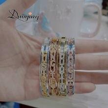 Duoying-brazaletes de colgantes personalizados con nombre, brazaletes personalizados de Zirconia con letras de nacimiento del zodiaco