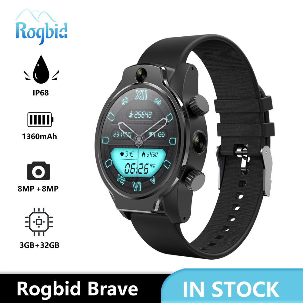 Смарт-часы Rogbid Brave, 4G, LTE, GPS, 3 + 32 ГБ, 8 Мп, 2 камеры, Wi-Fi, IP68, Android 2020