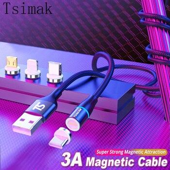 3А 5 в магнитный кабель Micro USB Type C для iPhone Samsung Huawei XIaomi Быстрая зарядка провод Type-C Магнитный зарядный кабель для телефона