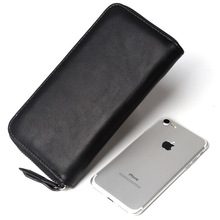 New business mens wallets long zipper PU leather multi-function handbags card mobile phone gift money