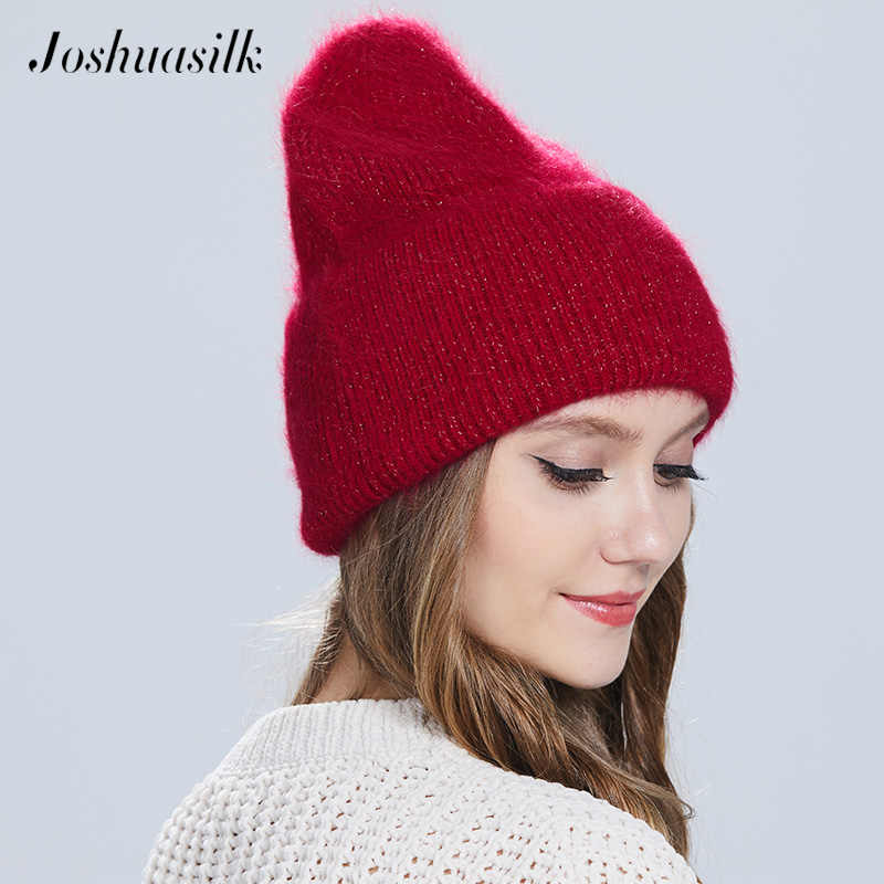 Joshuasilk نمط جديد فتاة النساء الشتاء قبعة Angora100 ٪ مزدوجة قبعة تدفئة Skulies بيني الألوان الشعبية لفتاة