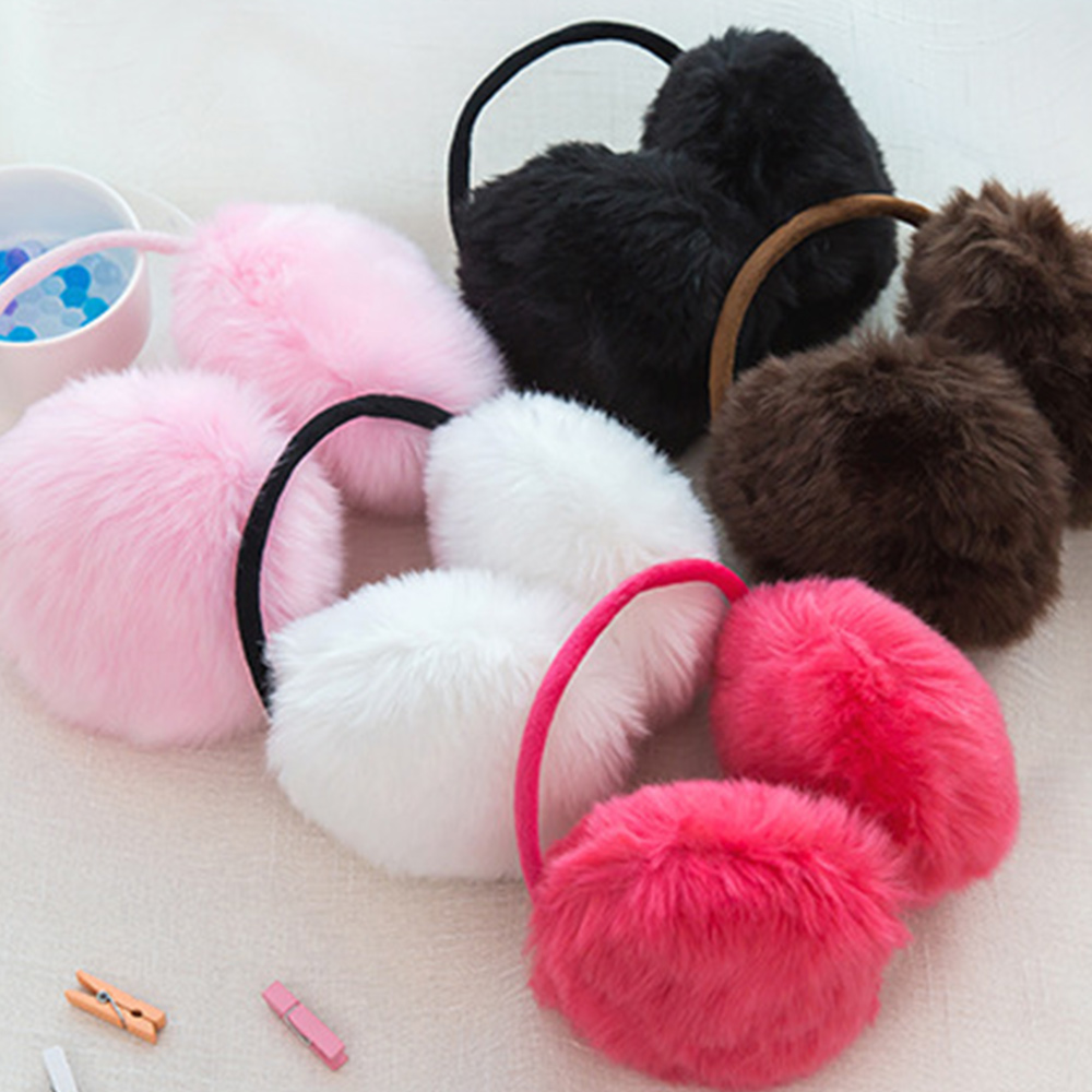 Female Ear Cover Cute Faux Rabbit Fur Warmer Earmuffs Fashional Plush Ear-Cap Ear Muffs Pure 6 Color Gift Keep Warm