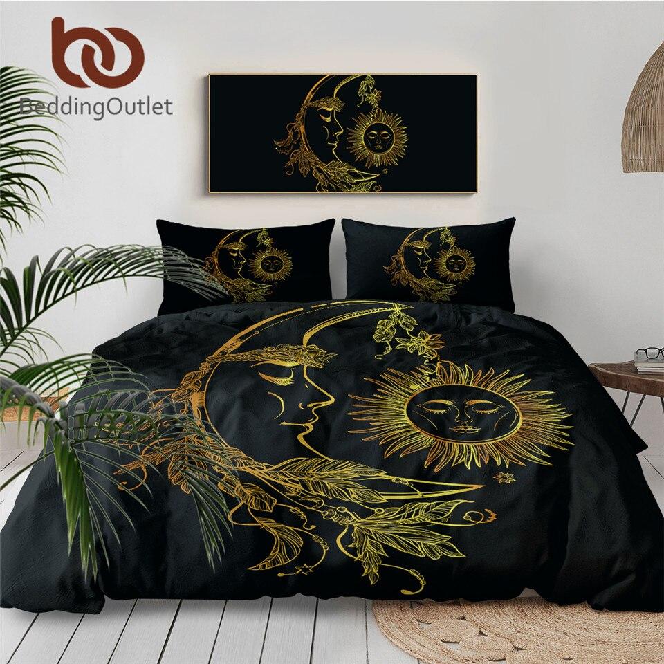 BeddingOutlet 3 Pieces Gold Moon Accompanys Sun Duvet Cover With Pillowcase Black Dark Blue Bedding Set King Size Quilt Cover 1