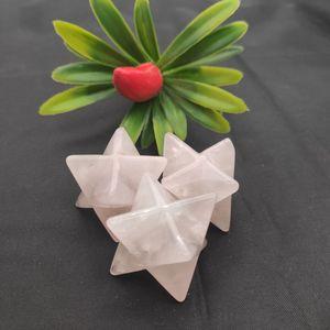 Натуральный розовый кварцевый кристалл Меркаба Звезда 8 чакры, рейки, исцеление, медитация, камень, стимулирующий акупунктурный массаж, ухо...