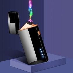 Plazma podwójny łuk zapalniczka USB wiatroszczelne bezpłomieniowe zapalniczki do palenia świeca papierosy gadżety dla mężczyzn LED wyświetlacz mocy