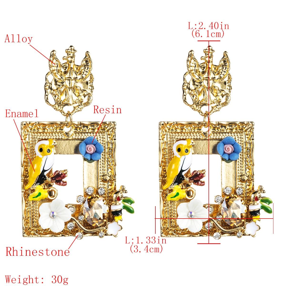 Women Elegant Retro Alloy Drop//Dangl Rhinestone Enamel flower Earrings Women BJ