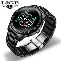 LIGE Smart Watch Men Fitness Tracker IP67 Waterproof Heart Rate Blood Pressure Pedometer For Android ios Sports smartwatch Box