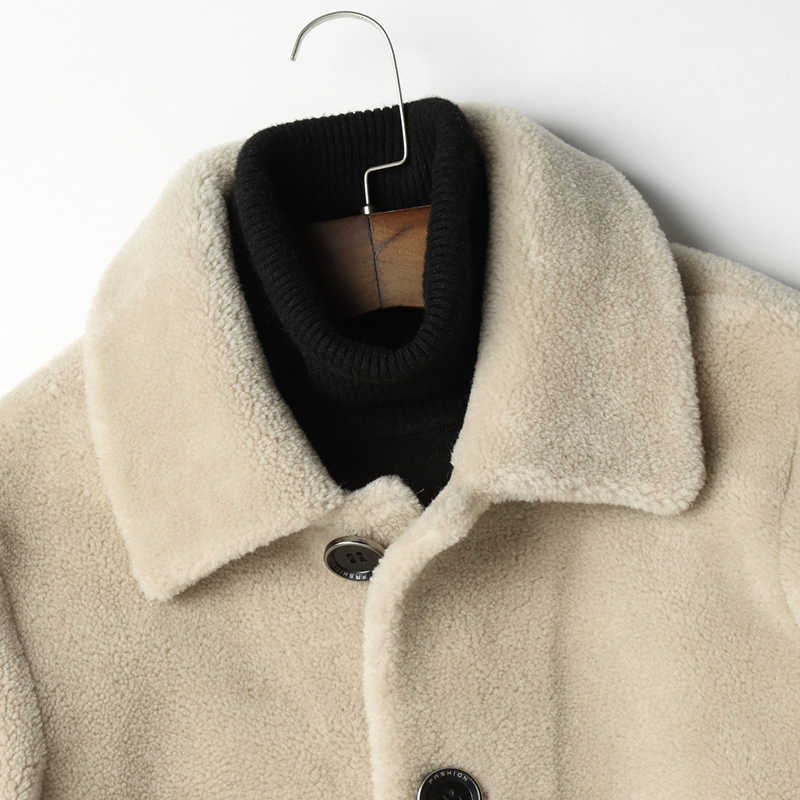 Mannen Winter Wol Herfst Echte Schapen Fur Coat Double-Side Wear Warme Jas Heren Mode Jassen L29-4802 YY460