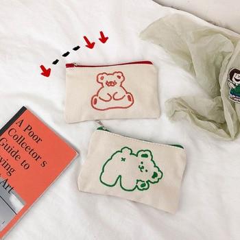 Simple Embroidery Cartoon Bear Large Pencil Case Cosmetic Bag Kawaii Capacity Pen Canvas Storage School Stationery