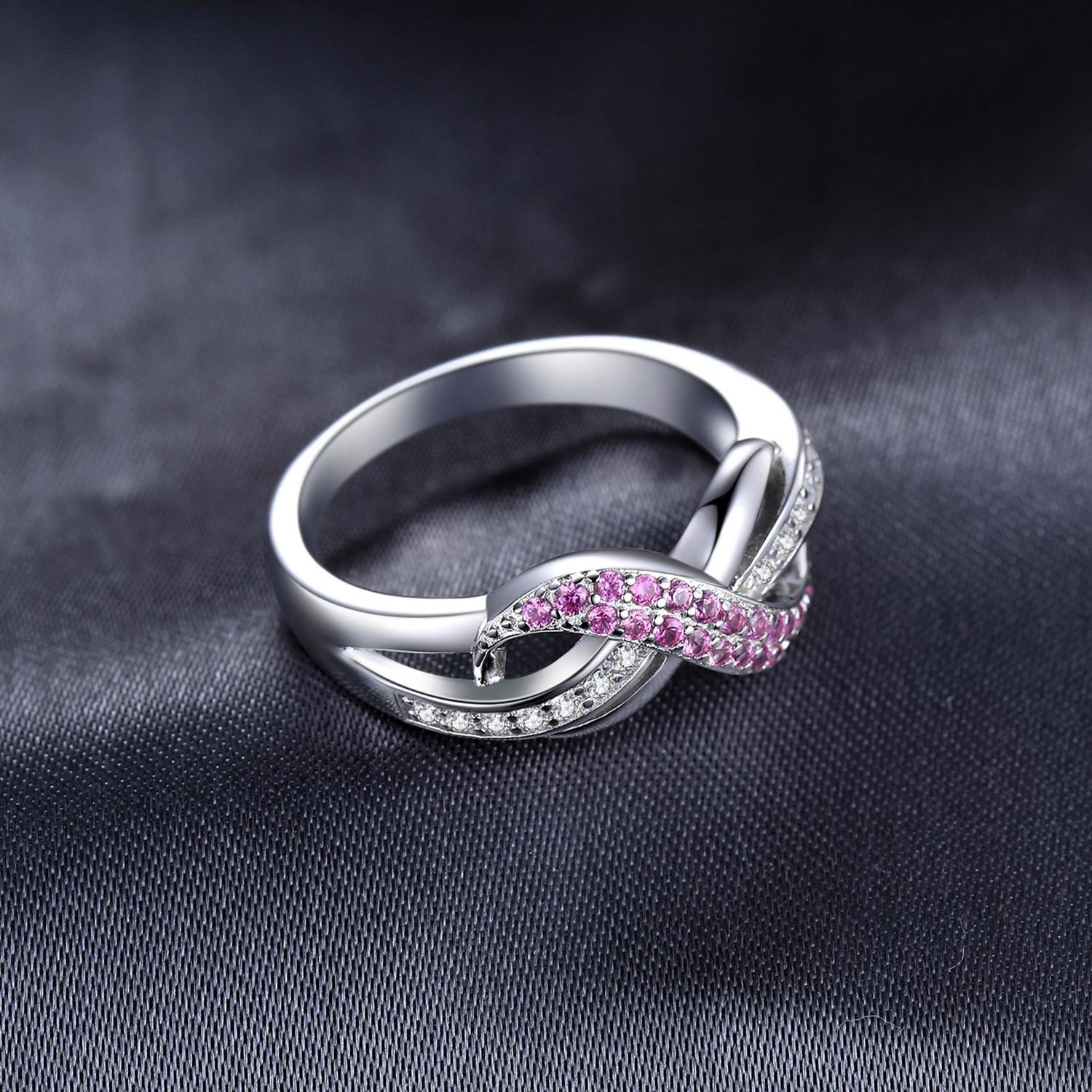 Image 3 - JewelryPalace Infinity Created Pink Sapphire Ring 925 Sterling 