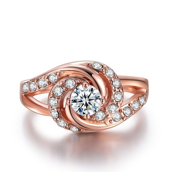 Fashion Rose Gold Diamond Rings For Women  Engagement Party Ring AAA White Zircon Cubic Rings Wedding Bands Jewelry Gift 1
