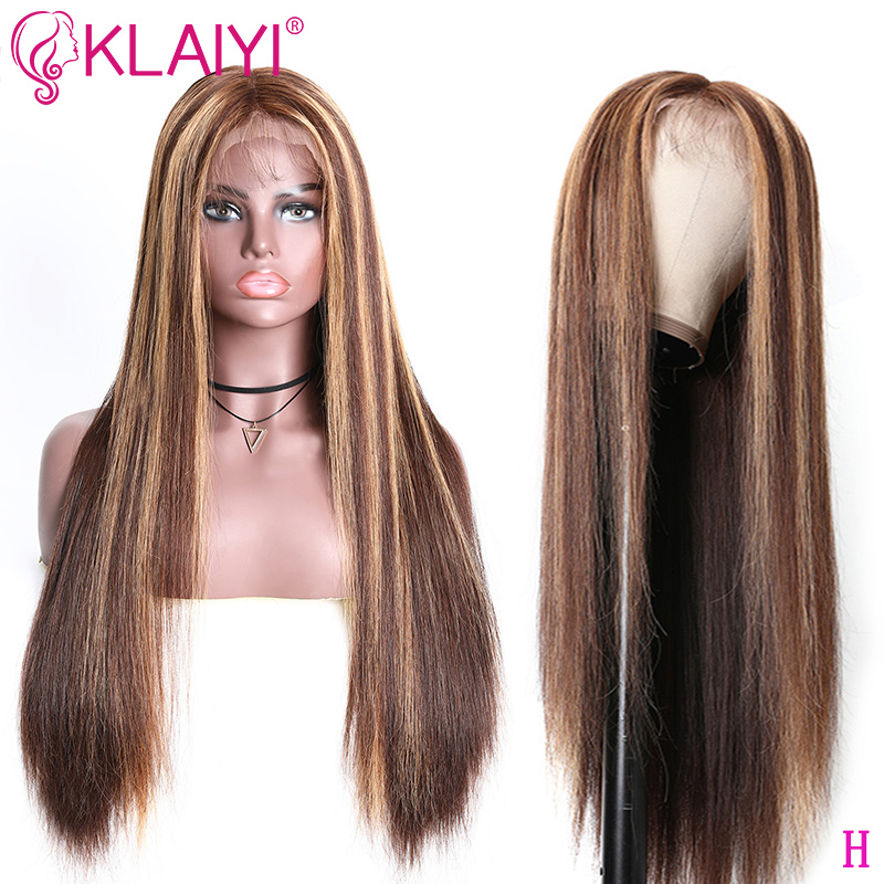Klaiyi Hair Highlight Straight Wigs 13*4 Inch Lace Front Wigs Blonde Brown Human Hair Wigs With Baby Hair 12-22 Inch Remy Hair