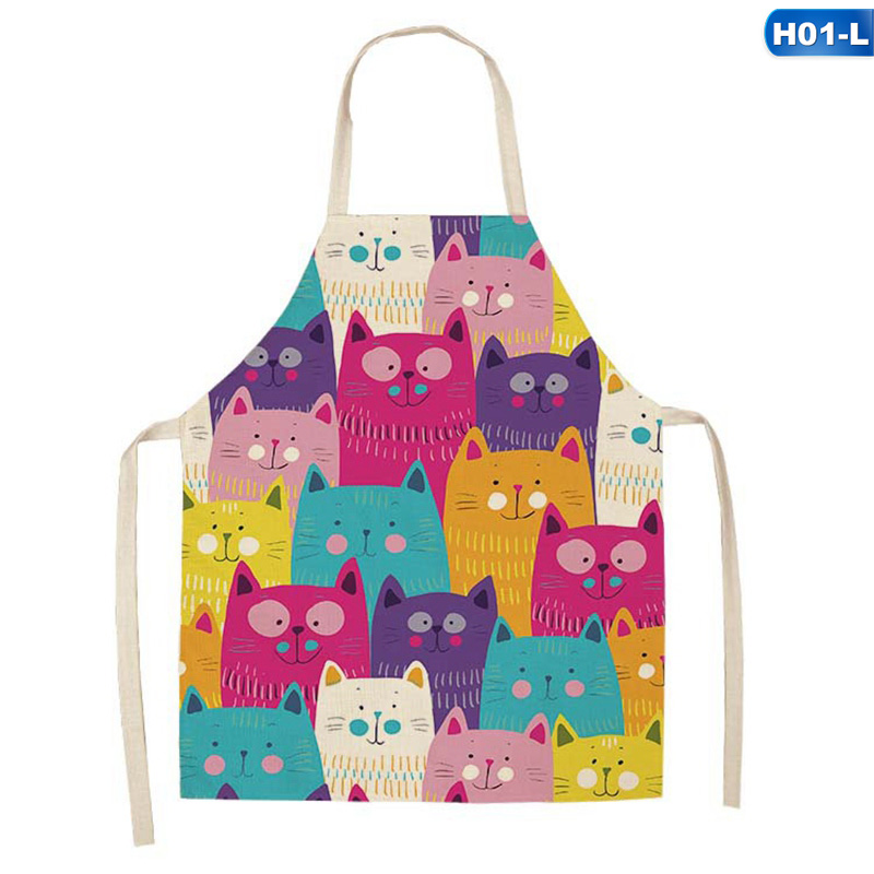 Parent-child Kitchen Apron Funny Cartoon Cat Printed Sleeveless Cotton Linen Aprons For Men Women Home Cleaning Tools