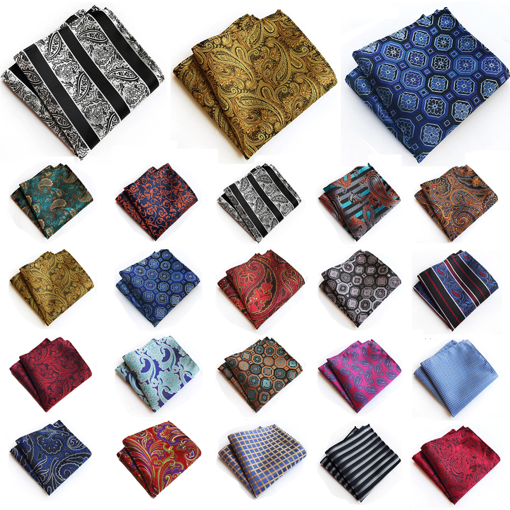 Mens Formal Pocket Square Paisley Floral Pattern Handkerchief Wedding Party