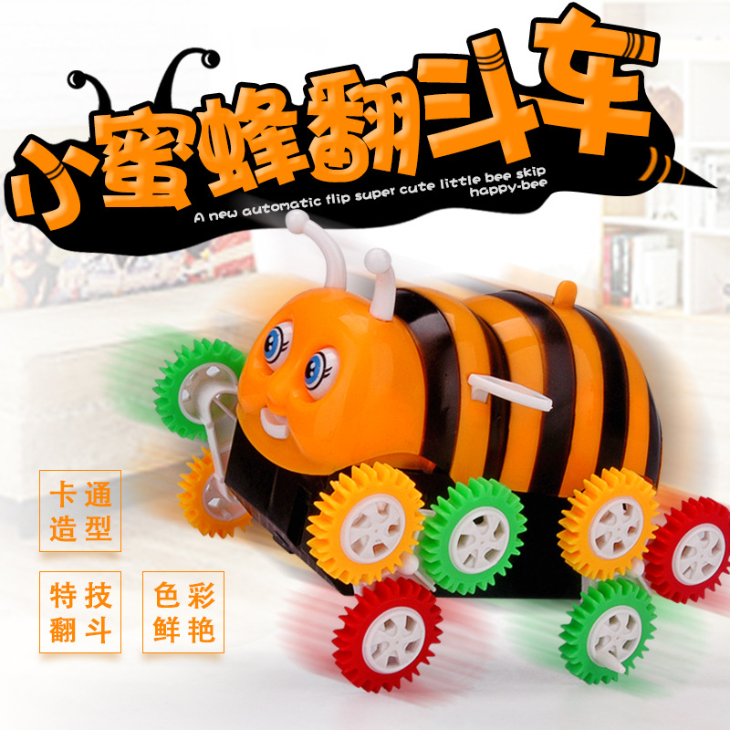 Children'S Educational Cartoon Electric Small Bee Tilting Stunt Toy Car Automatic Somersault Toy