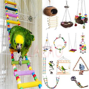 Colorful Ladder Bird Toy Cage Accessories Flexible Bite String Ladders Wooden Rainbow Bridge for Parrots Trainning 2