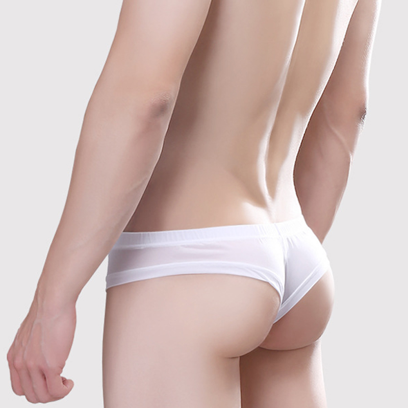 Mens Underwear Silky Breathable Sports Sexy Convex Thin Ice Silk Exposed Half Hips Low Waist Male Small Boxer Pouch Bikini