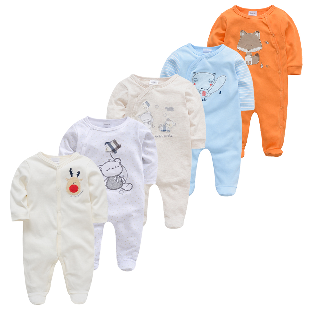5pcs Boy Pijamas Bebe Fille Cotton Breathable Soft Ropa Bebe Newborn Sleepers Baby Pjiamas