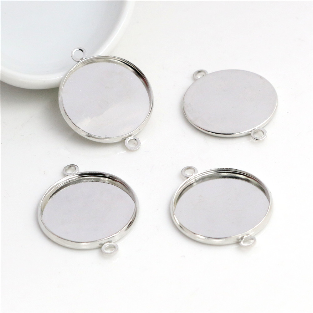 20pcs 20mm Inner Size Stainless Iron Material Rhodium Color Plated Simple Style Cabochon Base Cameo Setting Pendant Tray (S2-25)