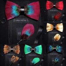 Ricnais Marke Designer Mens Fashion Feder Fliege Brosche Set Einstellbare Formale Krawatte Bowtie Hochzeit mit Geschenk Box