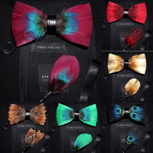Rignais marka projektant moda męska Feather muszka zestaw broszka regulowany formalny krawat Bowtie wesele z szkatułce