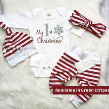 4 шт., милые комплекты одежды из хлопка для маленьких девочек комбинезоны с буквенным принтом, штаны в полоску рождественские шапки для новорожденных девочек, Рождественский наряд