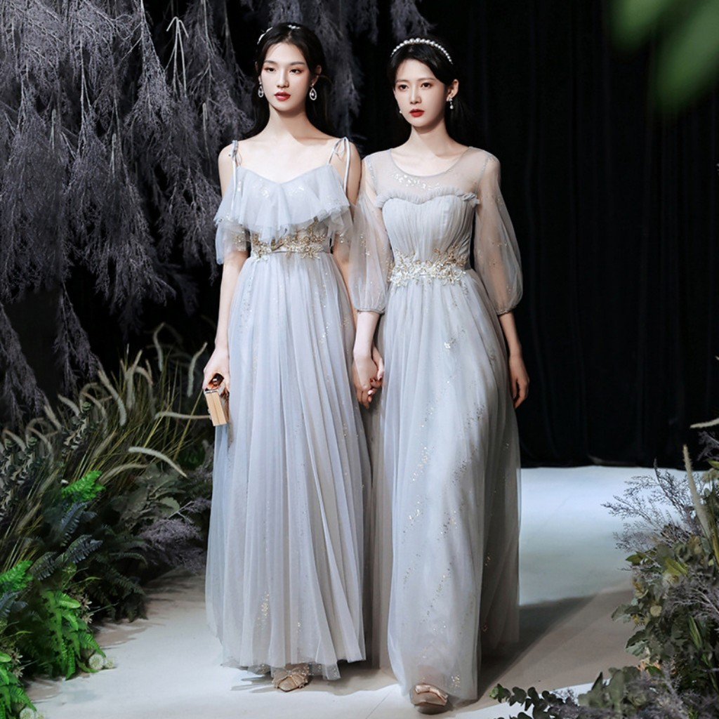 Spring Summer Young Lady Long Bridesmaid Dresses Bling Sequins Elegant Simple Light Gray Tulle Wedding Guest Party Gown JQ815