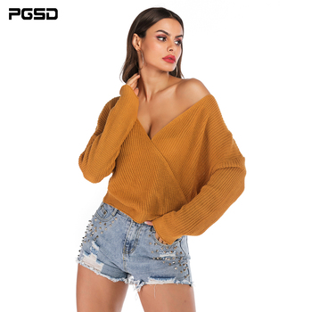 PGSD Autumn Bat sleeve knitted women sweater Sexy backless Deep V-Neck Pullover casual loose Simple Solid Colors clothes female pgsd autumn winter women clothes simple solid lace stitching short hoodie bat sleeve loose sweatshirt pullover casual top female