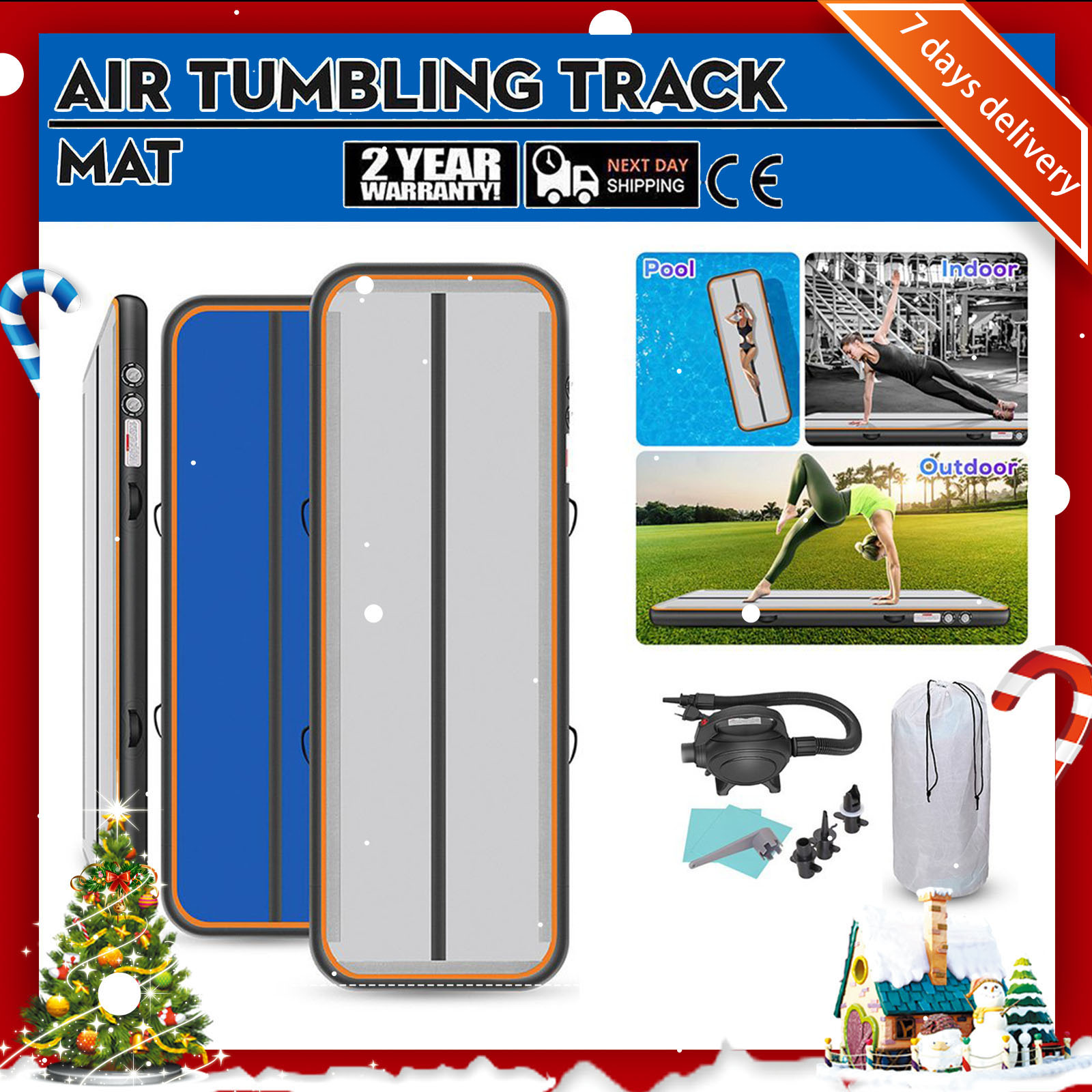 Rimdoc 4M 5M 6M Yoga Olympics Tumbling wrestling Inflatable Airtrack For <font><b>Kids</b></font> Christmas Gift Air Tumble Track Electronic Pump image