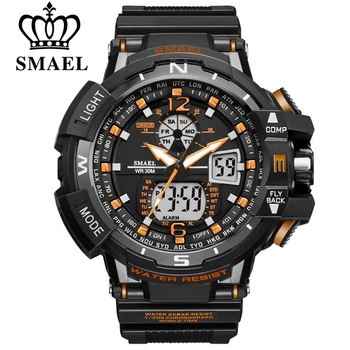 SMAEL Sport Watch mężczyźni 2021 zegar mężczyzna LED cyfrowy kwarcowy zegarki męskie Top marka luksusowe cyfrowy-zegarek Relogio Masculino tanie i dobre opinie 22cm Podwójne wyświetlanie 3Bar Sprzączka CN (pochodzenie) Z tworzywa sztucznego 17mm Akrylowe Kwarcowe zegarki bez opakowania