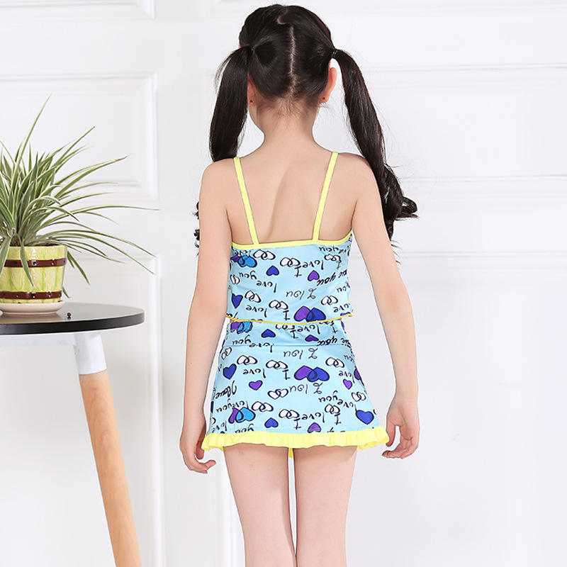 Drop Love For Water New Style Printed Girls' Two-piece Swimsuit Strapped Dress Pants CHILDREN'S Swimsuit Set