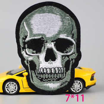 1PC fashion skull Skeleton head death Iron On Embroidered Patch For Cloth Cartoon Badge Garment Appliques Accessory image
