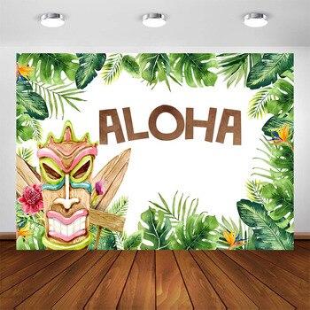 Hawaiian Tiki Aloha Party Photography Background Tropical Luau Party Aloha Birthday Baby Shower Decoration Backdrop Photo Booth