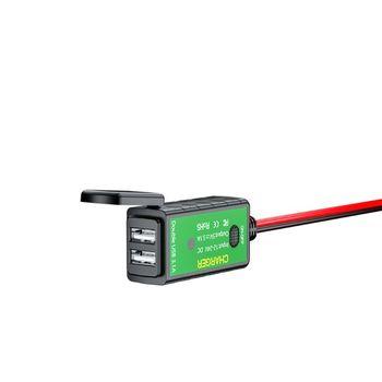 Impermeable 5V 2.1A motocicleta Dual USB cargador SAE a USB adaptador con interruptor de encendido/apagado para iPhone celular GPS Tablet