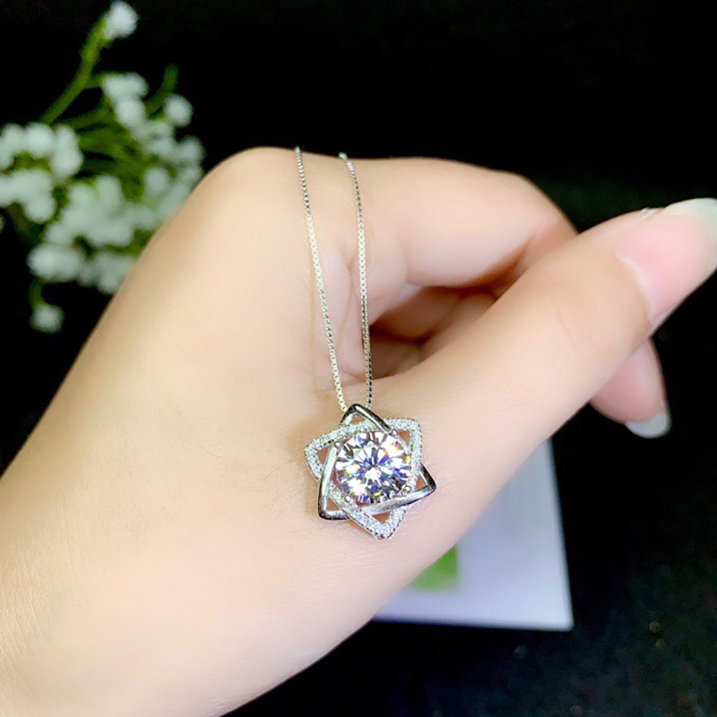 BOEYCJR 925 Silver 2ct 8mm F color Moissanite VVS Wedding Fine Jewelry Pendant Necklace for Women Anniversary Gift