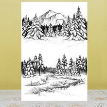 ZhuoAng Mountains and trees Stamp for DIY Scrapbooking/Photo Album Decorative Card Making Clear Stamps Supplies zhuoang reflection tree stamp for diy scrapbooking photo album decorative card making clear stamps supplies