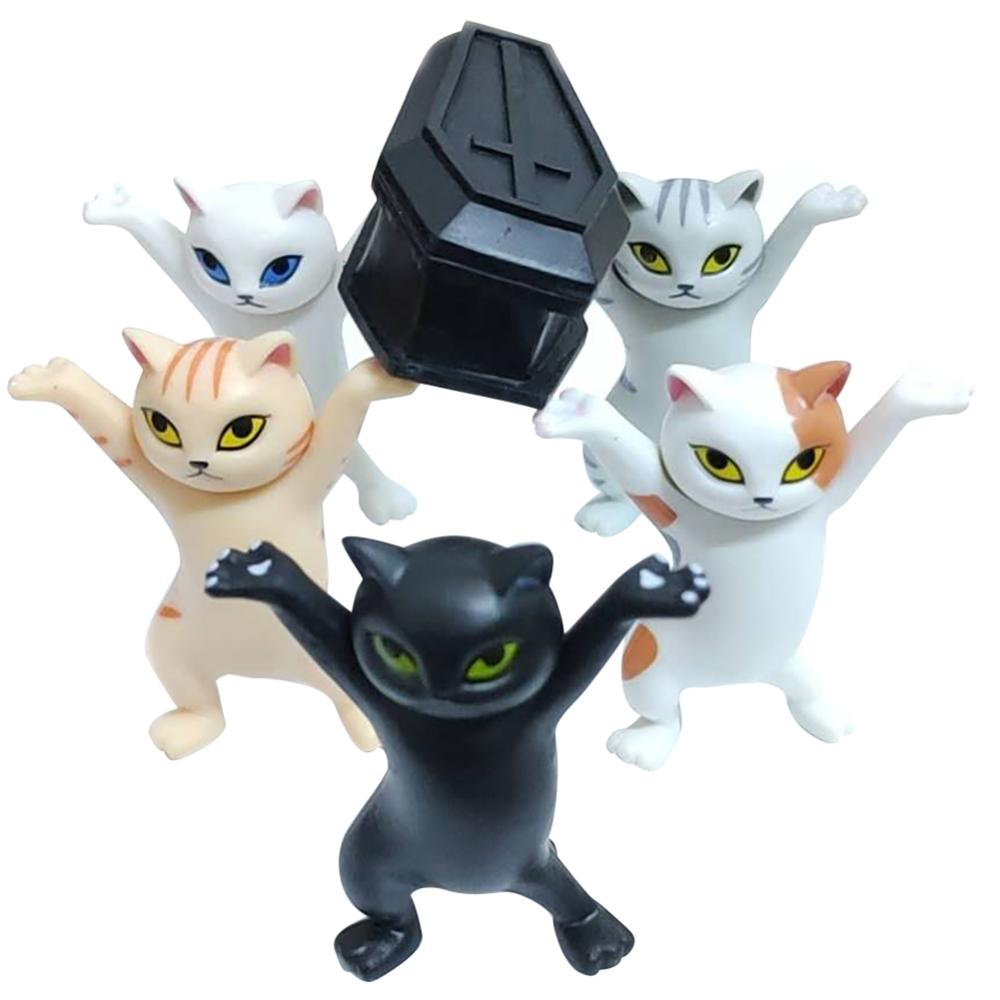 Kid Children Funny Toys Gift Cat Carrying Coffin Figure Doll 6 Pcs Boxed Animals Figurines Doll