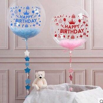 Glücklich Geburtstag Party Transparent Luftballons Konfetti Blase Ballons Geburtstag Aufkleber Erwachsene Geburtstag Party Dekoration Kinder