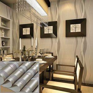 Image 5 - 3D Nicht woven Kurve Streifen Tapete Rolle Wohnkultur Wohnzimmer Schlafzimmer Wand Beläge Silber Floral Luxus Wand Papier