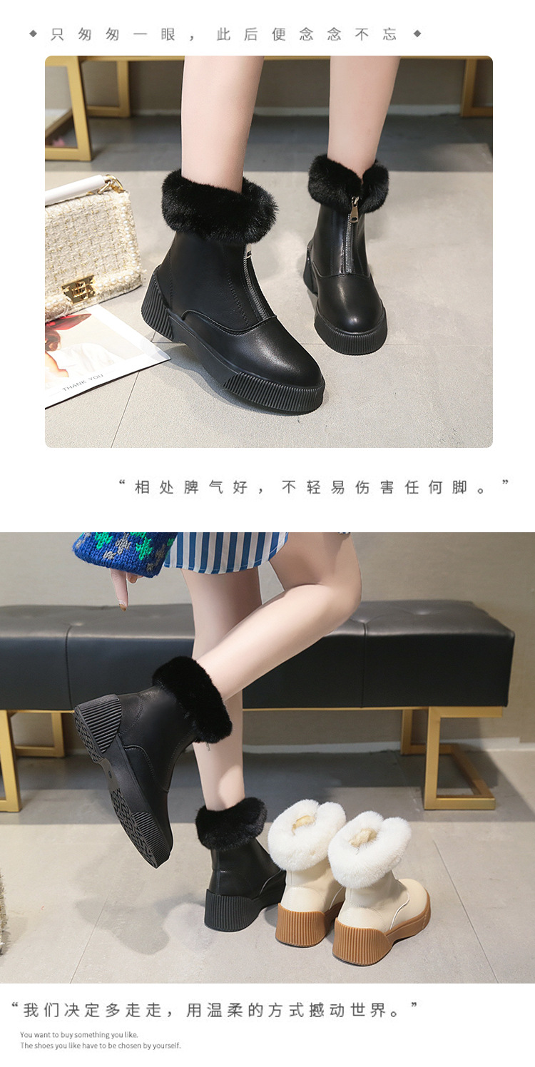Women Short Ankle Boots Winter Plush Warm Thick Bottom Platform Round Toe Students Leisure Flat Ankle Snow Boots Botas Mujer 43