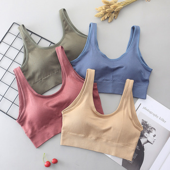Women Tank Crop Top Seamless Underwear Female Beauty V-Back Crop Tops Lingerie Sport Fitness Top Sexy Padded Camisole Femme knot back plaid crop top