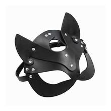 Sex produkty dla dorosłych SM Sex zabawki BDSM kobieta skórzana maska na oczy i kołnierz Catwoman Cosplay maska dla dorosłych gra bal przebierańców maski na twarz tanie tanio CN (pochodzenie) Unisex Kostiumy Skóra syntetyczna