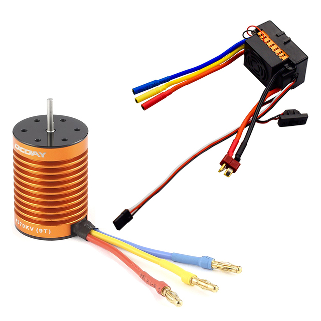 OCDAY 9T 4370KV 4 polen Sensorless Borstelloze Motor met 60A Electronic Speed Controller Combo Set voor 1/10 RC Auto en Truck