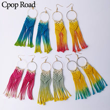 Cpop Colorful Cotton Thread Weave Macrame Earrings Geometric Hollow Circle Long Tassel Pendant Earring Women Accessories Jewelry(China)